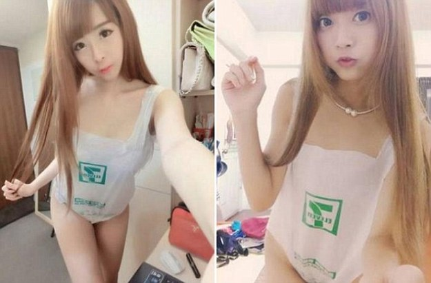 DailyTimes- A new bizarre fashion trend suggests you may have been overlooking the ultimate clothing item, despite unwittingly bringing it home with you after every shopping trip. People are stripping naked and posting photos of themselves wearing nothing but a plastic bag, as part of the latest social media sensation in Taiwan. Men and women alike are thrilled with their latest garment, although the transparent bags leave absolutely nothing to the imagination. It is particularly 'cool' to be seen flaunting a grocery bag from convenience store 7-Eleven, which seems to be a popular brand among plastic bag fans. The near-naked posers make a true fashion statement by displaying the green logo across their bare chests with pride. The incredibly affordable hot look of this season is adaptable and chic – simply slip your arms through the plastic handles and go! Perhaps the Taiwanese trend setters took inspiration from Mercedes Benz Fashion Week Australia in April. The St George New Generation models strutted down the catwalk with plastic bags over their heads which proved to be a polarising accessory.