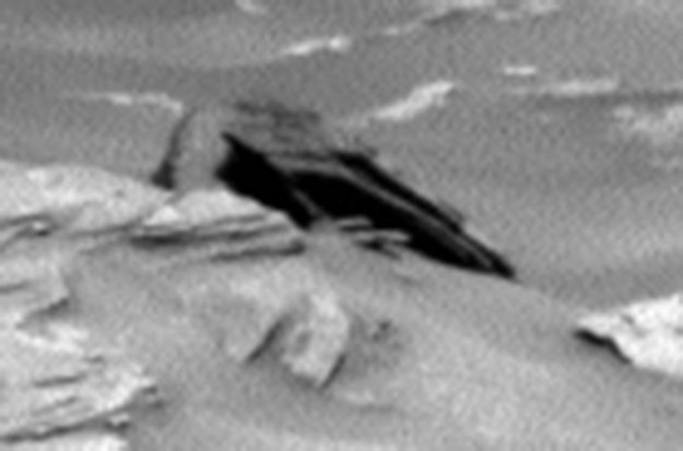 "An object that looks like a Star Destroyer from ""Star Wars"" wasn't found in a galaxy far far away. It was sighted on the planet next door. The Internet is now buzzing that an item photographed by NASA's Mars Curiosity Rover resembles the aircraft from George Lucas' space series. The dark pointy formation contrasts with the surface around it. ""I found this anomaly in the latest Curiosity Rover photo,"" Scott C. Waring wrote on UFO Sightings Daily. ""The black object looks like a crashed UFO. The craft is only about 2.5-3 meters across, so it probably only held a few passengers.""  RT.com noted the shape's similarity to the movie spacecraft, ""though the fictional vessels were some 500 times larger than the object found on Mars."""