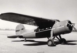 Amelia Earhart's Lockheed Vega, possibly the one flown over the Atlantic in 1932.  Note covered windows.
