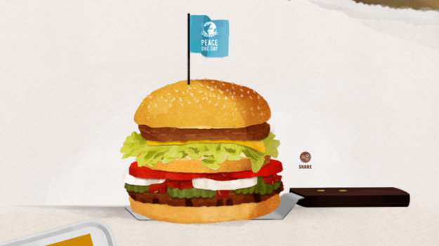 "They have been rivals for decades but Burger King has decided to offer an olive branch to McDonald's - for one day only. The company is proposing the chains ""settle the beef"" by combining their best-known burgers – the Whopper and the Big Mac – into the McWhopper, with the two recipes separated by a burger bun. It would be sold for just 24 hours at a pop-up restaurant in Atlanta, which is equidistant between their respective headquarters in Chicago and Miami. Even staff uniforms and the takeaway bags would be a compromise – half in McDonald's red, and the other in Burger King brown. Burger King extended its invitation of friendship in full-page adverts taken out in The New York Times and The Chicago Tribune. It wants the ""McWhopper"" experiment to take place on 21 September, which has been declared by the UN as an International Day of Peace, with any proceeds donated to charity. However, customers wouldn't pay for their McWhopper with cash. Instead, they would be asked to sign a tray mat declaring who they will make peace with. In a proposal to McDonald's, Burger King said: ""All these ingredients come together to build the burger some said would never happen. Some say the same thing about world peace. ""Let's prove them wrong on Peace Day. Everything in our proposal is up for discussion, from the name right through to the packaging. ""The only thing we can't change is the date, so let's talk soon."" McDonald's is yet to comment on their rival's bold proposal."