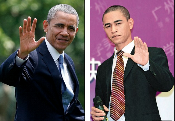 From the haircut to the hand gestures and even the ears, this President Obama lookalike has definitely got his act down to a tee. While China and America have not always enjoyed the easiest of relationships, that has not stopped Xiao Jiguo, 29, capitalising on his resemblance to the US president. The up-and-coming actor charmed audiences with his Obama impressions during a promotional tour in Shanxi province, northern China, on Tuesday. Xiao, who is originally from Sichuan province in central China, first gained fame after appearing on the TV talent contest 'Chinese Dream Show' in 2012, reported the People's Daily Online.  He soon landed small roles in television dramas and films following his success on the programme. The ambitious actor only realised he had a doppelganger after posting a video clip online, which attracted numerous comments about how much he looked like the US president.  Remarkably, Xiao says that his birthday is August 5 - the day after President Obama's birthday.  According to Xiao, he has studied hundreds of video clips of Obama and studied English so that he would be able to recite his inauguration speech. He even had minor plastic surgery earlier this year in order to look more like the president. Xiao launched an online comedy series called 'Aobama Goes on Dates' in May, in which he showed off his amazing ability to mimic the president's facial expressions (aobama is the Mandarin pronunciation for Obama). Before gaining fame as a lookalike, he worked as a waiter in Guangdong province, southern China, but had always wanted to be an actor and singer. He says his dream is to land a lead role in a television show and to be able to record his own songs.
