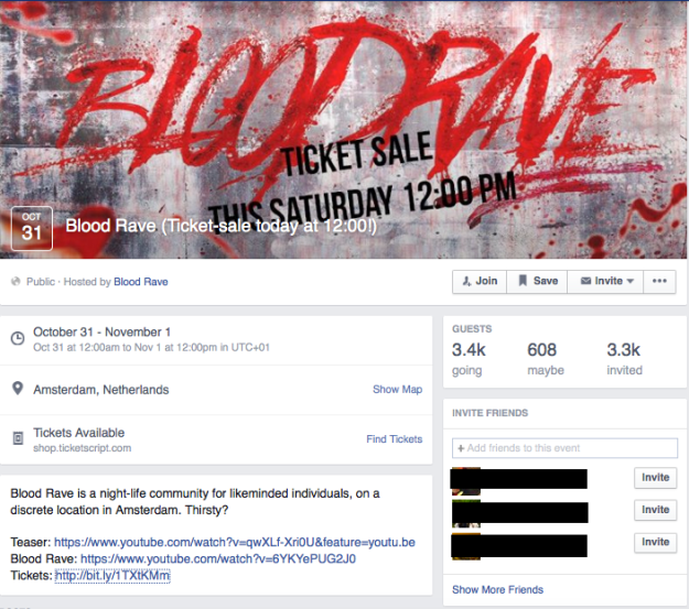 "The Netherlands will have its first ever ""Blood Rave"" – a dance party where dancers are sprayed with 5 thousand liters of blood – in Amsterdam on Halloween night. The event has been posted on Facebook, but with no specifics except for the date – October 31st – so far. A total of 728 guests have indicated that they are going. One of the organizers, who want to remain anonymous due to the nature of the event, told the AD that this is will be the first blood party in the world and the demand for it is high. The Blood Rave is based on the opening sequence of the 1998 vampire movie Blade. The opening shows a club full of dancing people suddenly sprayed with blood. The organizers want to use the same elements to recreate this scene. ""In real life it is just more extreme."" one said to the newspaper. In terms of attendees, they expect somewhat ""freaky"" people in terms of personality. The organizers want to host a Halloween event that if focused less on pumpkins and kids and is ""rawer and more exciting"". They are still trying to figure out whether it will be possible to use real blood, but that is what they want. ""After a long search we have developed a special sprinkler system with pipes running across the ceiling and thus making us able to spray blood over the crowd. We've already tested it a number of times a substance resembling blood"", one of the organizers explained. ""It is pushing the borders, but we want to see how far we can go."" Below is the opening sequence of Blade. Blood starts spraying out of the ceiling around the two minute mark and this may be disturbing to sensitive viewers."