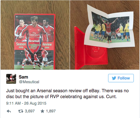 But the tale doesn't end there kids. After bearing the brunt of thousands of tweets laughing at poor Sam for just wanting to watch some Andrey Arshavin in his prime, the evil culprit surfaced: