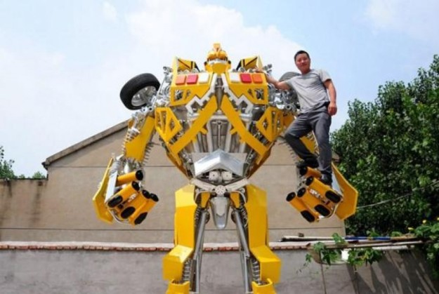 "A shipyard welder in eastern China gave up his job to fulfil a promise to his son and build a robot replica based on the Transformers action movies. Standing 5m high and 3m wide, the dazzling yellow version of ""Bumblebee Autobot"", character in the film, towers over onlookers in Wang Liansheng's backyard in Suqian, Jiangsu province. It all started when Wang told his two-year-old son that he would make a model for him because he couldn't afford to buy one after they watched the latest Transformers movie last July, Thepaper.cn reported. His son took his words to heart, and Wang realised he had to keep his promise. ""As a father, I can't just say something and not do it,"" Wang said. He gave up his job and spent 140,000 yuan (HK$170,000) on his pet project. In a year, he scoured enough old car parts and other scrap metal across the city to assemble the robot. Wang says it was the worth the effort, especially when his son proudly tells people: ""My father made this."" He next plans to make a model of the Transformers character Optimus Prime, and maybe try to make a business out of it."