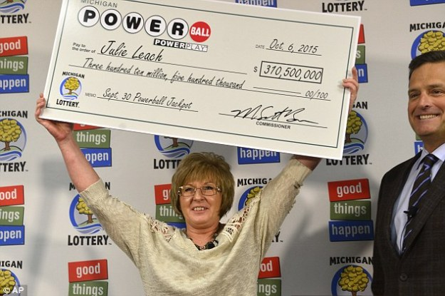 "A 50-year-old supervisor at a Michigan fiberglass factory said she 'automatically' quit her job after winning the $310.5 million Powerball jackpot. Julie Leach, from Three Rivers, said she was having a 'really bad night' at work when she went to a McDonald's drive thru to get dinner, and decided to check her numbers. To her shock Leach found she had scooped the jackpot, and says she plans to buy a plot of land to build houses for her and her partner of 36 years, and their three children and 11 grandchildren. Read more: http://www.dailymail.co.uk/news/article-3261479/Winner-310-5-million-Powerball-ticket-speak-media.html#ixzz3nouYIbv5  Follow us: @MailOnline on Twitter | DailyMail on Facebook According to Fox 17, Leach said: 'About 6.30 at night I stopped to get my coffee and got $20 worth of lottery tickets and just went to work. 'I was having a really bad night so I went to McDonald's for lunch and thought I might as well check my own numbers while I'm sitting her and that's when I realized I was the winner. 'I didn't believe it so I had to go back to work and confirm with a couple of people.'  Read more: http://www.dailymail.co.uk/news/article-3261479/Winner-310-5-million-Powerball-ticket-speak-media.html#ixzz3nouik3x0  Follow us: @MailOnline on Twitter | DailyMail on Facebook Leach added that she woke up partner Vaughn Avery, who works at a metal casing factory, that night to tell him about the win.  He told the Detroit Free Press: 'I said, ""You're kidding me, get out of here."" I thought I was dreaming. She goes ""no, we won it.""  I had to look at it. I looked on her phone, grabbed my phone, pulled the website up. I just couldn't believe it.  'I said, ""I really need to go back to bed to get up for work."" She said, ""You don't ever have to go to work.""'  Leach told ABC that Avery has tried proposing to her several times in the past, but she has always refused, pointing to her friends who have gotten divorced, saying the pressure would be too much. She added that she might be open to an offer now, but 'he would have to sign a pre-nup' first.   Leach added that she is still in shock after her win, saying she didn't go to sleep for 'over 30 hours' after discovering her windfall. Read more: http://www.dailymail.co.uk/news/article-3261479/Winner-310-5-million-Powerball-ticket-speak-media.html#ixzz3noulmgdb  Follow us: @MailOnline on Twitter 