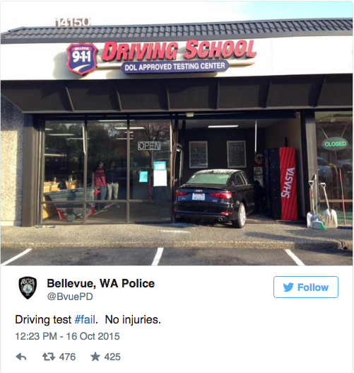 "A student driver in Washington state learned the subtle difference between the gas pedal and the brake on Friday when she crashed into a driving school. Authorities in Bellevue snapped a quick photo of the scene. No injuries were reported in the incident. Police responded to reports of a car that crashed into a building around 8:30 a.m. ""Unfortunately, that student mistook the gas pedal for the brake, sending the car into the building,"" Seth Tyler of the Bellevue Police told KOMO. Police said the student is a woman in her 20s who is new to the country. She was approaching the end of the test when the accident happened. ""She was doing great up until that very last part ... [and she] did drive through a plate glass window, so that was a fail on the test,"" Tyler noted."