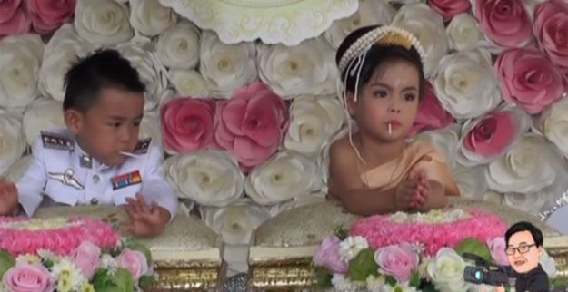 208 9 Superstitious parents in Nakhonsawan province hosted a big traditional wedding for their 3-year-old twins in attempt to fix their bad karma. Petai Angdechawat married his twin sister Pailin at their home on Saturday. The adorable pair had their Thai wedding ceremony at their home on Saturday as Petai offered his sister a whopping THB3 million in cash and gold as her dowry. In Thai culture, it is believed that opposite-sex twins were lovers in the past life who were prevented from being together. Being born together as twins means their prayers were delivered by God. Parents must marry their twins for blessing to send a message to God that they're well and in love; otherwise the cultural belief is that the children might die very young, News Connect reported. Petai and Pailin also had this cute wedding photoshoot which went viral on Twitter.