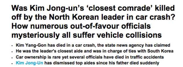 North Korean leader Kim Jong-Un's 'closest comrade' has become the latest top official to die in a crash in a country where there are 'almost no cars on the road'. Kim Yang-Gon, 73, who was in charge of ties with South Korea and a secretary of the ruling Workers' Party, died in a crash, state news agency Korean Central News Agency (KCNA) reported. Impoverished North Korea's road network is badly maintained and car ownership is rare, yet several high-level officials have died in traffic accidents over the years. In June 2010, KCNA reported that Ri Je Gang, 80, first vice department director of the Workers' Party's Central Committee, died in a traffic accident. Ri reportedly bickered with Jang Song Thaek, a powerful uncle of Kim Jong-Un, who was eventually executed by his nephew for alleged treason in 2013. In December 2009, the news agency said Ri Chol Bong, 78, chief secretary of the Workers' Party's Kangwon provincial committee, died in a traffic accident. Jang, the executed uncle of Kim, survived a car accident in September 2009, according to South Korean media reports. Foreign analysts believe Jang was also purged and sent to a labour camp for two years in the mid-2000s in what was seen as a move by Kim Jong-il, the late father of Kim Jong Un, to clip his wings. In October 2003, KCNA reported that Kim Yong Sun, a senior North Korean official involved in reconciliation efforts with South Korea, died of injuries sustained in a traffic accident four months earlier. Kim Yong Sun was a close aide to then-leader Kim Jong-il. But Kim Jong-il's military, which traditionally favours a hard-line stance on South Korea, had reportedly tried to hold him in check.