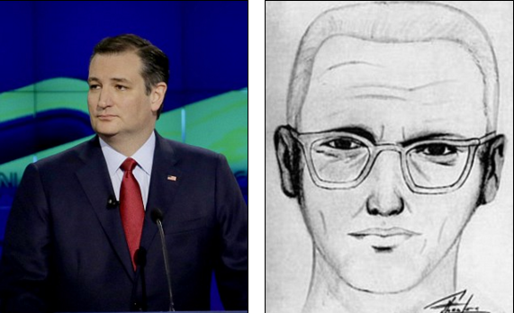 He may be in the midst of a bruising presidential election campaign.  But Ted Cruz has now found himself the butt of the jokes on social media, with commentators remarking on his uncanny resemblance to the Zodiac Killer.  Following the debate in Houston last night, people on Twitter joked about how Cruz was in fact the serial killer and a confession was now his only way to defeat Donald Trump.  Read more: http://www.dailymail.co.uk/news/article-3465422/Ted-Cruz-Zodiac-Killer-Senator-finds-butt-jokes-uncanny-resemblance-California-serial-killer.html#ixzz41HbXp8YM  Follow us: @MailOnline on Twitter | DailyMail on Facebook Public Policy Polling cheekily included the question at the end of their Florida polls and found that 10 per cent of people thought Cruz was the Zodiac Killer, with 28 per cent saying they were 'unsure'. Jim Williams, who put the question on the poll, said: 'People are pretty serious about politics so we like to throw some curve balls to keep things light.'  The 'Is Ted Cruz actually the Zodiac Killer' meme began when an activist used it on T-shirts to support abortion clinics threatened with closure in Texas, where the senator has slashed public funding and supported measures to limit women's access to birth control through their employers or churches.  Cruz, along with rival candidate Marco Rubio, enjoyed a successful night in Houston. Together, they teamed up on the front-runner and unleashed a barrage of attacks on the billionaire.  Cruz challenged Trump's claim that he is the only candidate who will tackle illegal immigration head on.  Read more: http://www.dailymail.co.uk/news/article-3465422/Ted-Cruz-Zodiac-Killer-Senator-finds-butt-jokes-uncanny-resemblance-California-serial-killer.html#ixzz41HbhKZdE  Follow us: @MailOnline on Twitter | DailyMail on Facebook