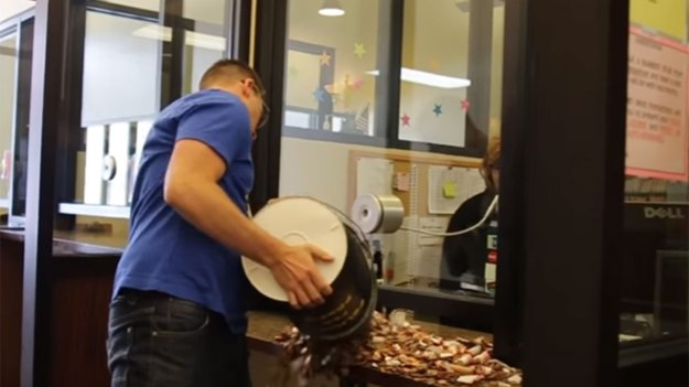 "NEW YORK (FOX5NY) - Brett Sanders of Frisco, Texas, used pennies to pay for a speeding ticket because he wanted ""to make a big spectacle of it."" He used 22,000 pennies to pay for a $212 fine. Sanders created a video of the incident that has gone viral. ""I'm not a big fan of extortion. I was convicted by a jury for driving 39 in a 30 and was subject to $212 at the barrel of a gun,"" wrote Sanders. In the video, he is seen calling a bank to ask if they would have 22,000 pennies available. It also shows Sanders bringing the coins in buckets and pouring them onto a counter at a municipal court house. According to local media, the court clerks brought the pennies to Coinstar locations. Sanders is reportedly owed $7.81 for overpaying."